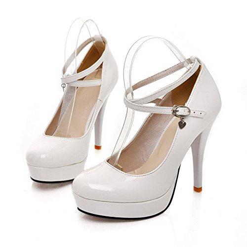 Solid White Womens Patent Round PU VogueZone009 Toe Heel Closed High Leather Pumps Platform Stiletto APFAROqwan