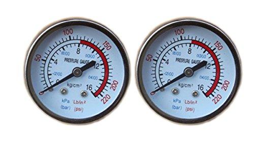 LIPOVOLT 2 PCS Air Pressure Gauge Max 220 PSI 16 bar BSP Thread For Air Compressor