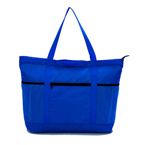 Large Beach Bag With Zipper - XL Foldable Tote Bag For Travel And Shopping - Large Tote Bag With Many Pockets (Blue)