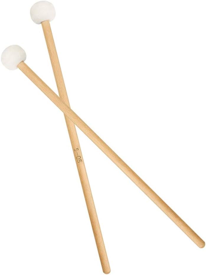 Exceart Timpani Mallets Sticks Felt Head Drum Sticks Mallets with Wood Handle Percussion Accessories 2pcs