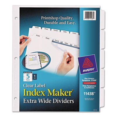 Avery Dennison Index Maker (Index Maker Extra-Wide Clear Label Dividers, 5-Tab, 11 1/4 x 9 1/4, White, Sold as 5 Each)