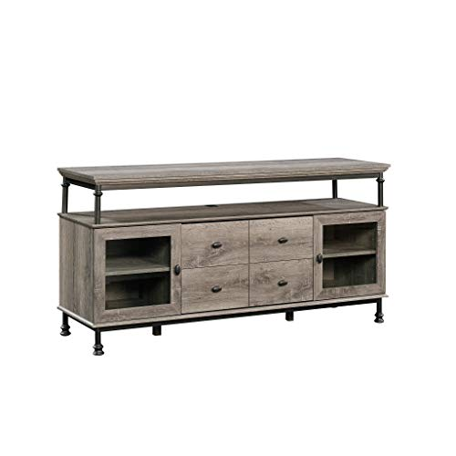Glass Oak Shelf - Sauder 420494 Canal Street Entertainment Credenza, For TV's up to 60