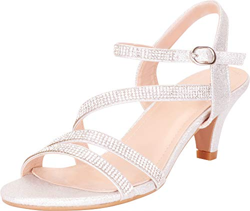 Cambridge Select Women's Strappy Crystal Rhinestone Mid Heel Dress Sandal,8 B(M) US,Silver Glitter