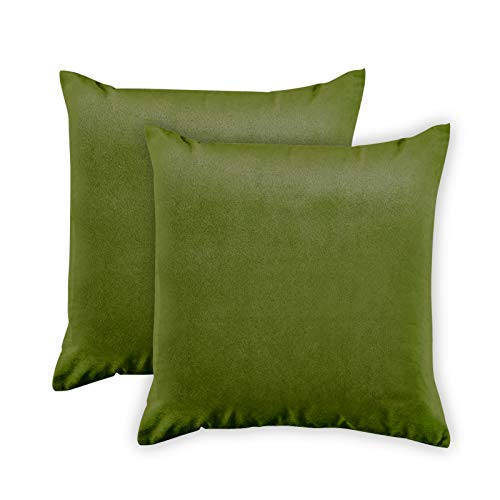 Encasa Homes Velvet Throw Pillow Cushion Cover 2 pcs Set - Olive - 18 x 18 inch / 45 x 45 cm Solid Plain Dyed Soft & Smooth, Square Accent Decorative Pillowcase for Couch, Sofa, Chair, Bed & Home ()