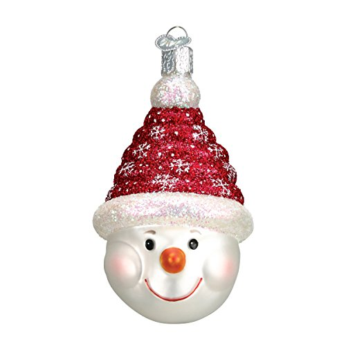 Old World Christmas Glistening Candy Coil Snowman Glass Blown Ornament