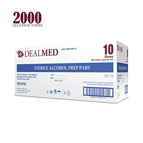 Dealmed Sterile Alcohol Prep Pads, Antiseptic Latex-Free Wipes, Gamma Sterilized, 2000 count
