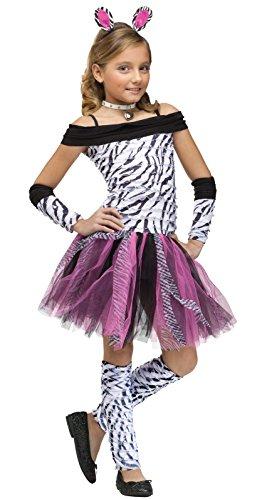 Fun World Girls Zebra Costume, Multicolor, Medium (Girls Unique Costumes)