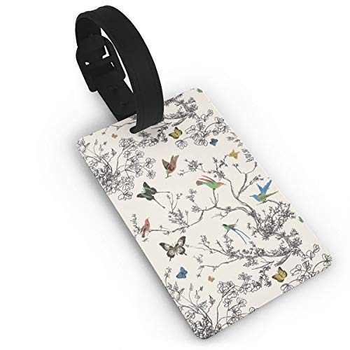 Diemeouk Luggage Tags Suitcases Butterfly Tree Bird PVC