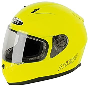 Nitro N2100 Uno - Casco integral para motocicleta scooter, color amarillo.