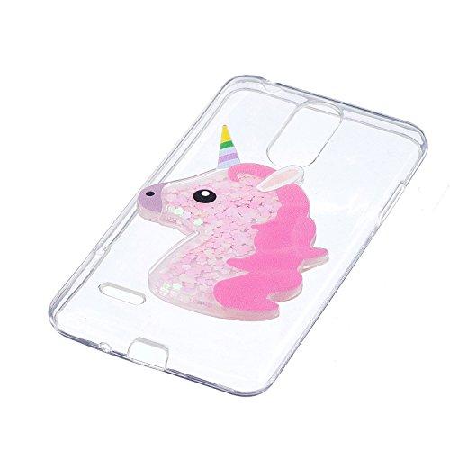 Funda LG K8 2017, Caselover 3D Bling Silicona TPU Unicornio Carcasas para LG K8 2017 Glitter Líquido Arena Movediza Protección Caso Sparkle Brillar Cristal Tapa Case Suave Transparente Claro Bumper Co Rosado