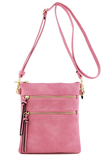 Pink Cross Body (Functional Multi Pocket Crossbody Bag (Rose Pink))