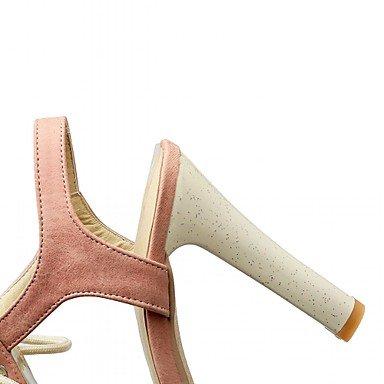 LvYuan Mujer-Tacón Robusto-Confort Innovador-Sandalias-Oficina y Trabajo Informal Fiesta y Noche-Sintético Semicuero PU-Azul Rosa Beige Pink