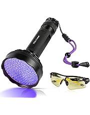 YOUTHINK UV-lampa, 128 LED UV-ficklampa med UV-skyddsglasögon, 395 nm uppgraderad 128 LED-ficklampa svart ljus ultraviolett lampa, hund katt urindetektor, för matta/golv