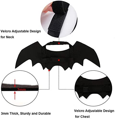 Malier Halloween Cat Costume for Cats Dogs Pet Bat Wings Cat Dog Bat Costume Wings (Small) 24