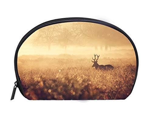 Custom design Portable Toiletry Cosmetic Bag Red Deer Stag in the golden mist Travel Cosmetic Case Luxury Makeup Artist Bag