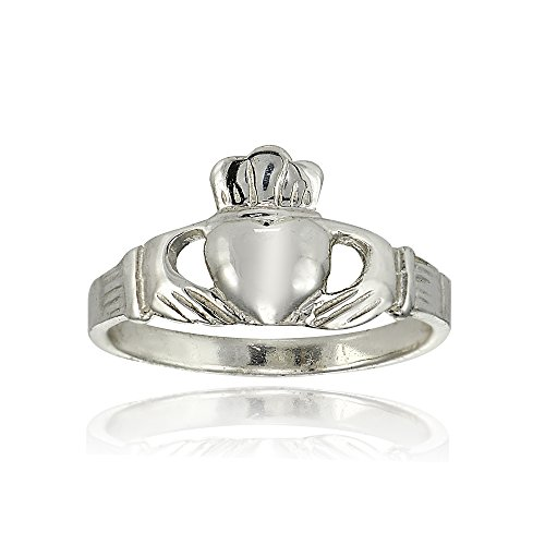 Sterling Silver Polished Claddagh Hands Holding Heart Crown Promise Ring, Size 8 (Crown Ring Claddagh)