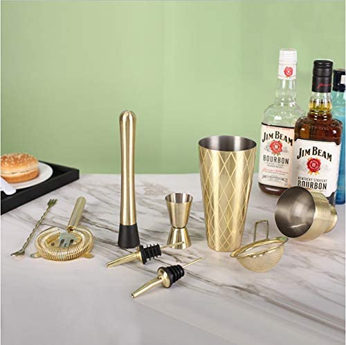 8 Kit Goldene Edelstahl Cocktail Shaker Set Ice Tong Mixer Getränk Boston Barmixer-Tool Browser Kit Bars Set-Barmixer-Werkzeug