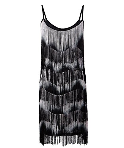 [Ru Sweet Women 1920s Flapper Girl Fringe Tassel Charleston Party Cocktail Dress] (Junior Dance Costumes)