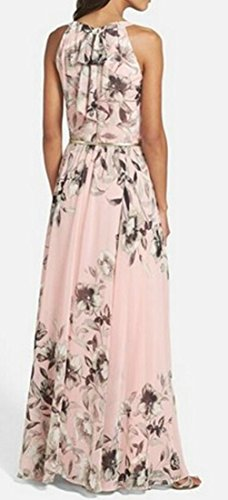 Chiffon Maxi Printing Beach Womens Sleeveless Floral Cromoncent Dress Pink zZwSYqIH