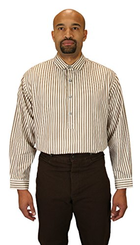 [Historical Emporium Men's Coulter Edwardian Club Collar Dress Shirt L Tan Stripe] (Sweeney Todd Halloween)