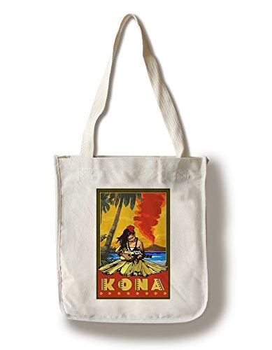 Lantern Press Kona, Hawaii - Hula Girl and Ukulele (100% Cotton Tote Bag - Reusable) -