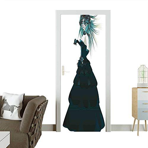 Modern Art Door Sticker Sugar Skull Girl with Prom Dress Roses in Hand Gothic Halloween Lady Environmentally Friendly decorationW32 x H80 INCH -