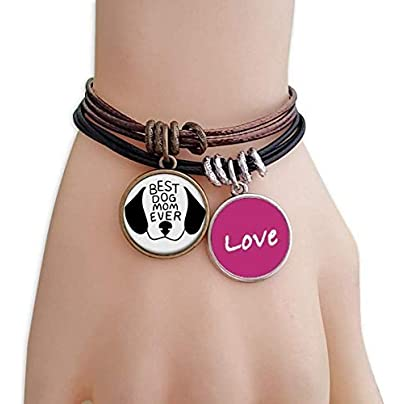 FerryLife Best Dog Mom Ever Quote DIY Design Love Bracelet Leather Rope Wristband Couple Set Estimated Price £9.99 -