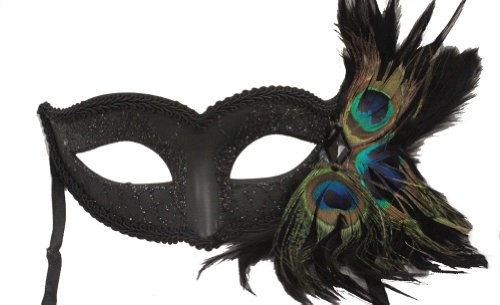 - RedSkyTrader Womens Peacock Feathers Party Mask One Size Fits Most Black