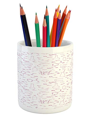 Ambesonne Lab Pencil Pen Holder, Scientific Research Elements Microscope Tubes and Medical Signs and Symbols, Printed Ceramic Pencil Pen Holder for Desk Office Accessory, Fuchsia and White