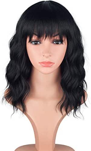 Fashion Short Bob Shoulder Length Wavy Curly Natural Full Hair Wigs With Bangs For Black Women African American Ladies Cosplay Party Custom Wigs (Natural Black)