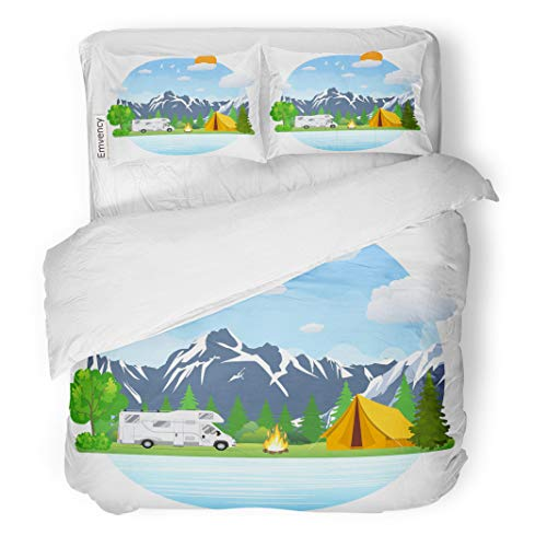 Semtomn Decor Duvet Cover Set Twin Size Campsite Place in Mountain Lake Forest Camping Landscape Rv 3 Piece Brushed Microfiber Fabric Print Bedding Set Cover]()