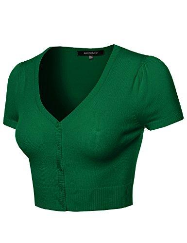 Awesome21 Basic Solid V-Neck Bolero Shrug Cropped Cardigan Kelly Green Size 3XL (Nylon Bolero)