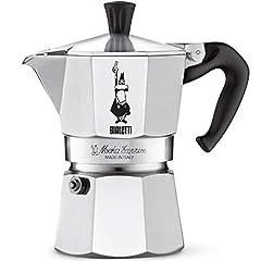 Aluminum, stovetop espresso maker produces 3 demitasse cups of rich, authentic Italian espresso in just 4-5 minutes.