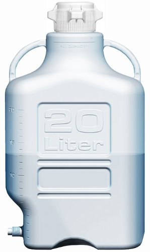 EZgrip 20L (5 Gal) Autoclavable Polypropylene (PP) Space Saving Carboy with Leakproof Spigot, 83mm (83B) VersaCap and 26.5L Max Capacity, Large Pinched Handles