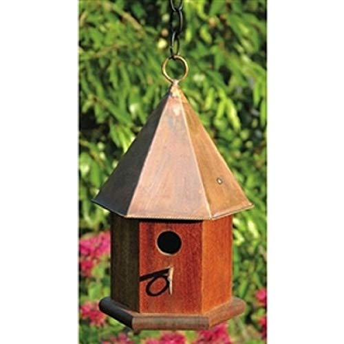 Solid Mahogany Wood Songbird Birdhouse with Shiny Copper Roof New Good Elegant Classic Sturdy -