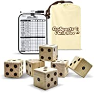 GoSports Giant Wooden Playing Dice Set with Bonus Rollzee and Farkle Scoreboard - Includes 6 Dice, Dry-Erase S