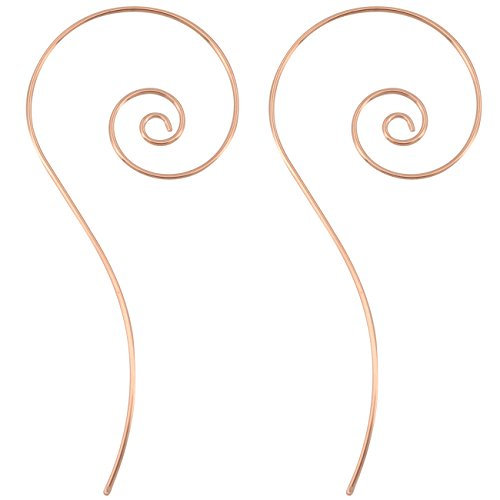 OUFER 18Gauge Rose Gold Spiral Around Earrings -Threader Earrings Fashion Jewelry 1mm