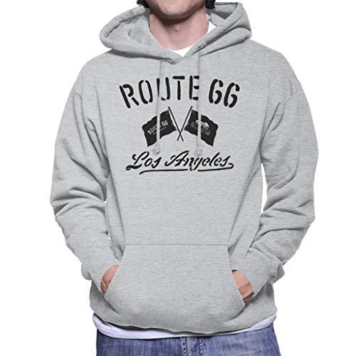 Route 66 Motorcycle Flags Los Angeles Men's Hooded Sweatshirt Heather Grey (Best Bike Routes Los Angeles)