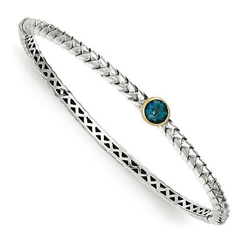 14 carats Argent fin 925/1000 avec Topaze Bleu Bracelet JewelryWeb Londres