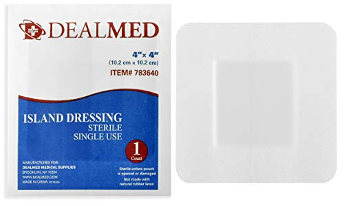 (Dealmed Sterile Bordered Gauze Island Dressings, Non-Stick, Latex-Free, 4