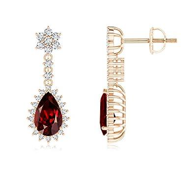 Angara Cushion Garnet Halo Earrings with Diamond Clusters JBAwAeofVb
