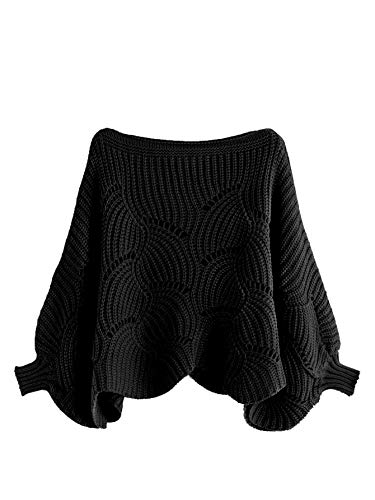 Eyelet Knit Dolman Sleeve Jumper Sweaters M-Black S ()