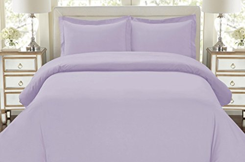Hotel Luxury 3pc Duvet Cover Set-ON SALE TODAY-1500 Thread Count Egyptian Quality Ultra Silky Soft Top Quality Premium Bedding Collection, 100% -Queen Size Lavender (Purple Duvet Cover Set)