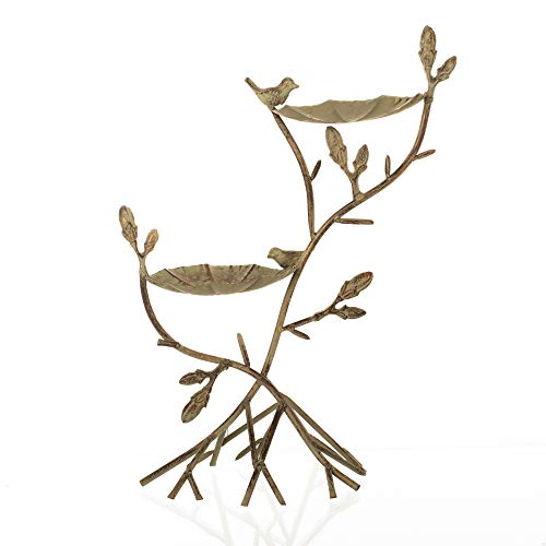Tiered Branches Leaves Silver Tone 20 x 15 Rustic Metal Wild Bird Feeder (Tiered Branches)