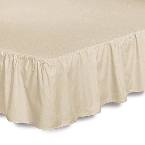 Bed Ruffle Skirt (King, Beige) Brushed Microf...
