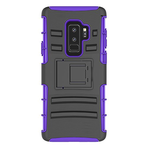 Galaxy S9 Plus Stand Case, HLCT Rugged Shock-Proof Dual-Laye