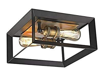 Fifth and Main WL-2166 Austin 2 Light Flush Mount with Matte Black and Antique Brass Socket