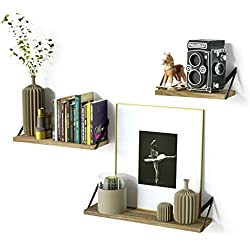 RooLee Rustic Floating Wall Mount Shelves Set of 3 Wood Storage Shelves for Perfect Decor of Any Room (Upgraded)