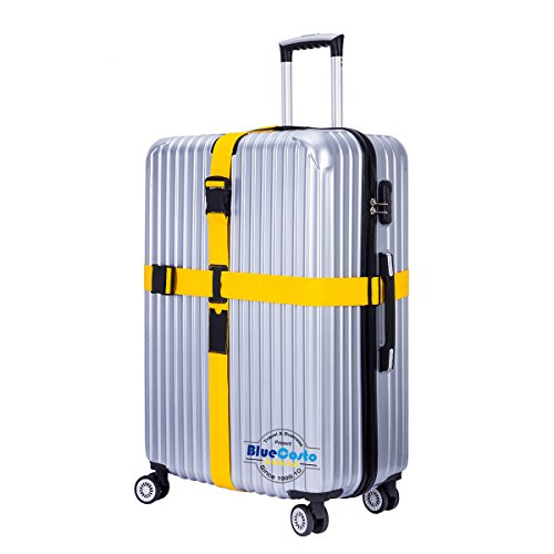 BlueCosto (Yellow) Adjustable Cross Luggage Strap Suitcase Belts