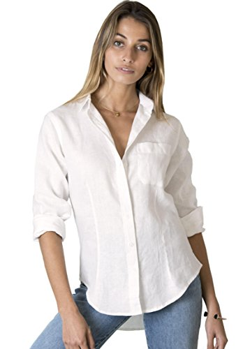 CAMIXA Women's 100% Linen Casual Shirt Slim Fit Button-Down Airy Basic Blouse XXL Ivory -